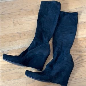 Dolce Gabbana Suede Stretch Wedge Boots